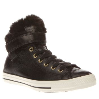 Converse Black & White All Star Hi Brea Leather & Fur Womens Trainers