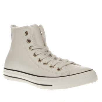 CONVERSE STONE ALL STAR HI LEATHER & FUR TRAINERS