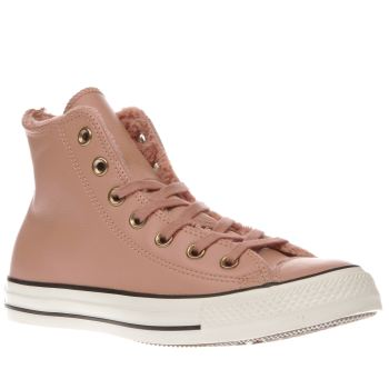 CONVERSE PINK ALL STAR HI LEATHER & FUR TRAINERS