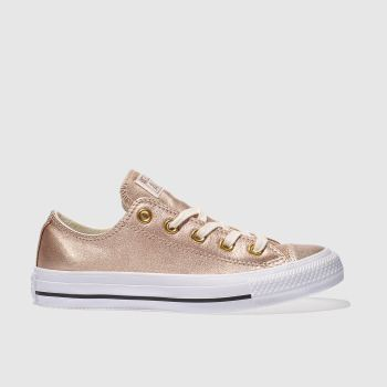 Converse Rose Gold All Star Metallic Leather Ox Womens Trainers