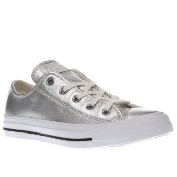 Converse Silver All Star Metallic Leather Ox Womens Trainers
