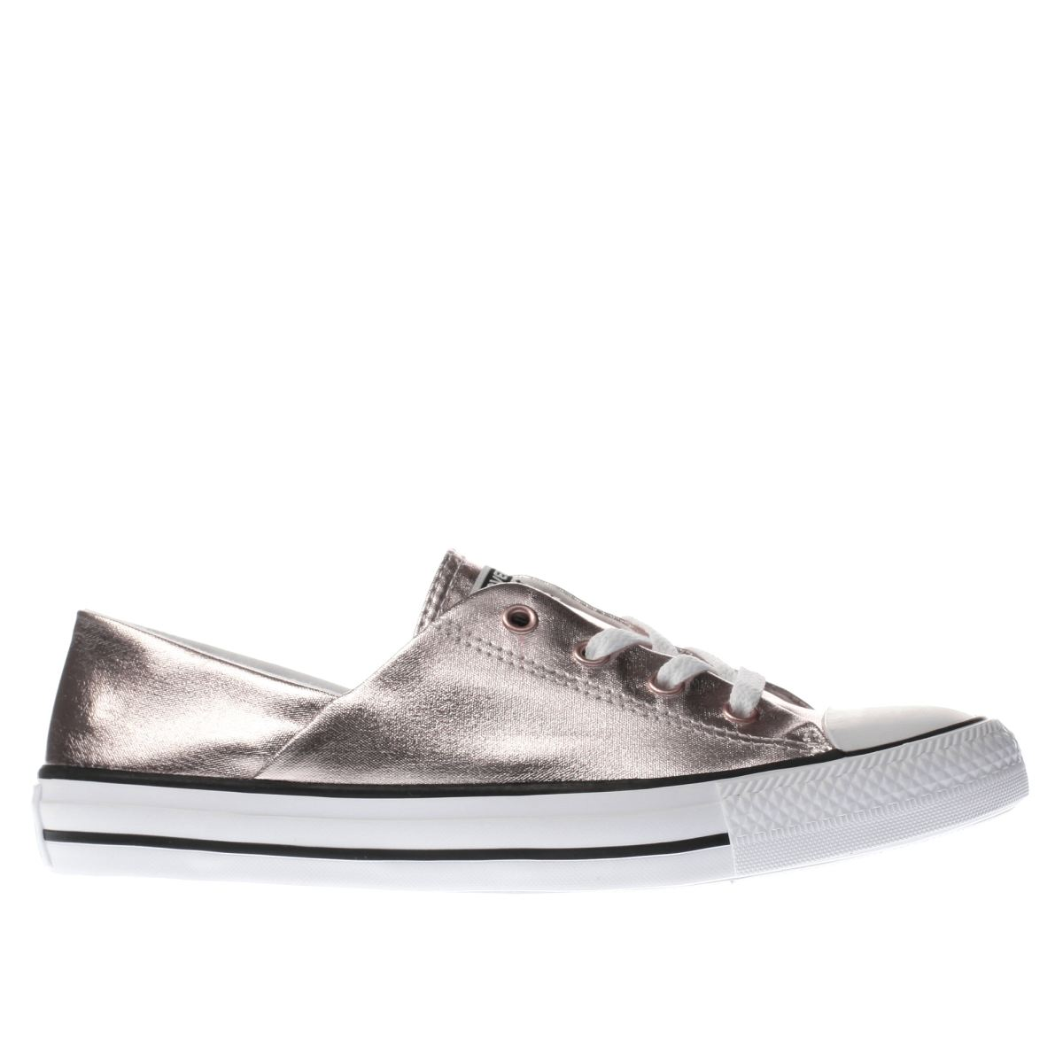 converse rose gold coral metallic canvas ox trainers
