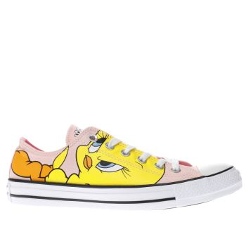 CONVERSE PINK & YELLOW LOONEY TUNES TWEETY OX TRAINERS