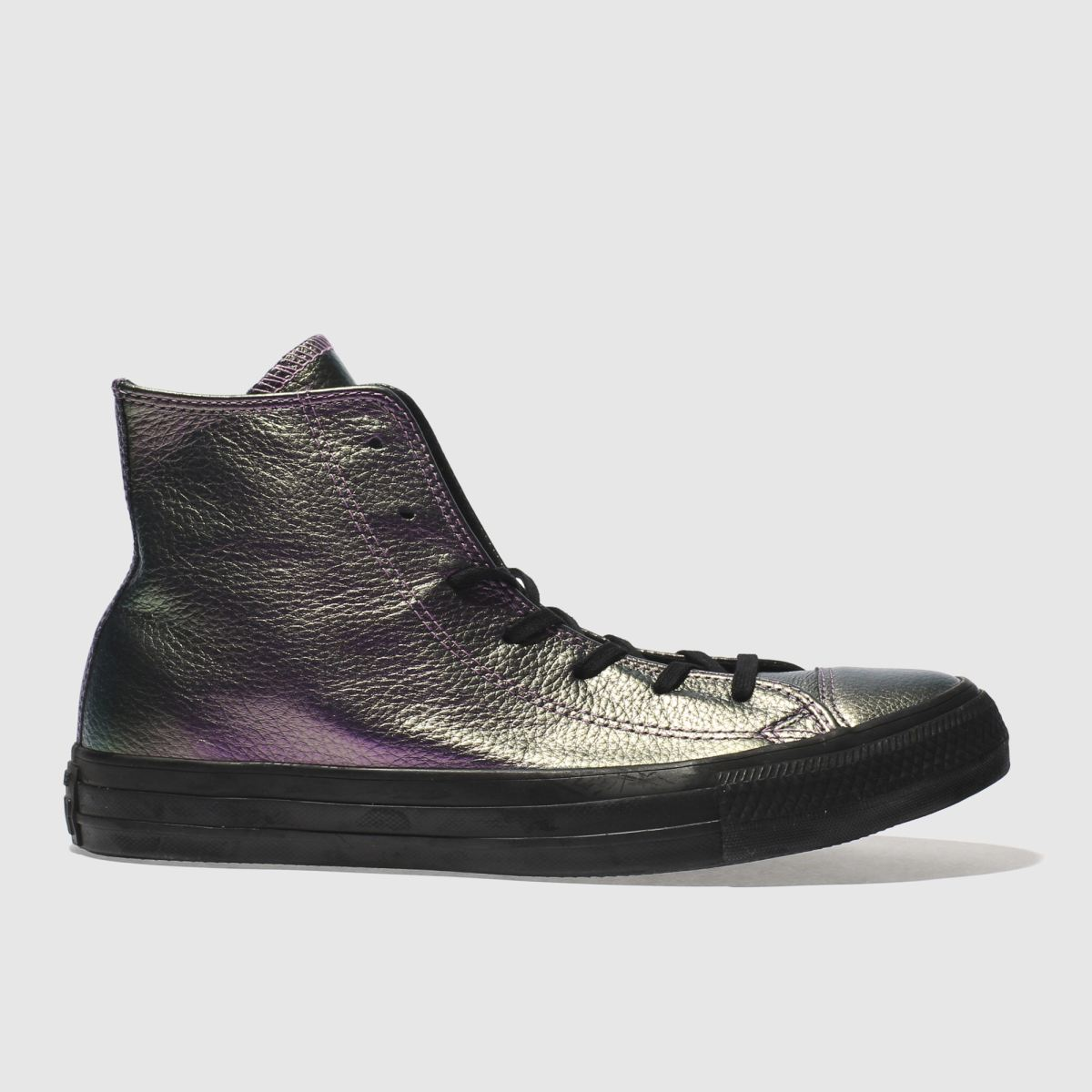 converse purple all star leather hi trainers