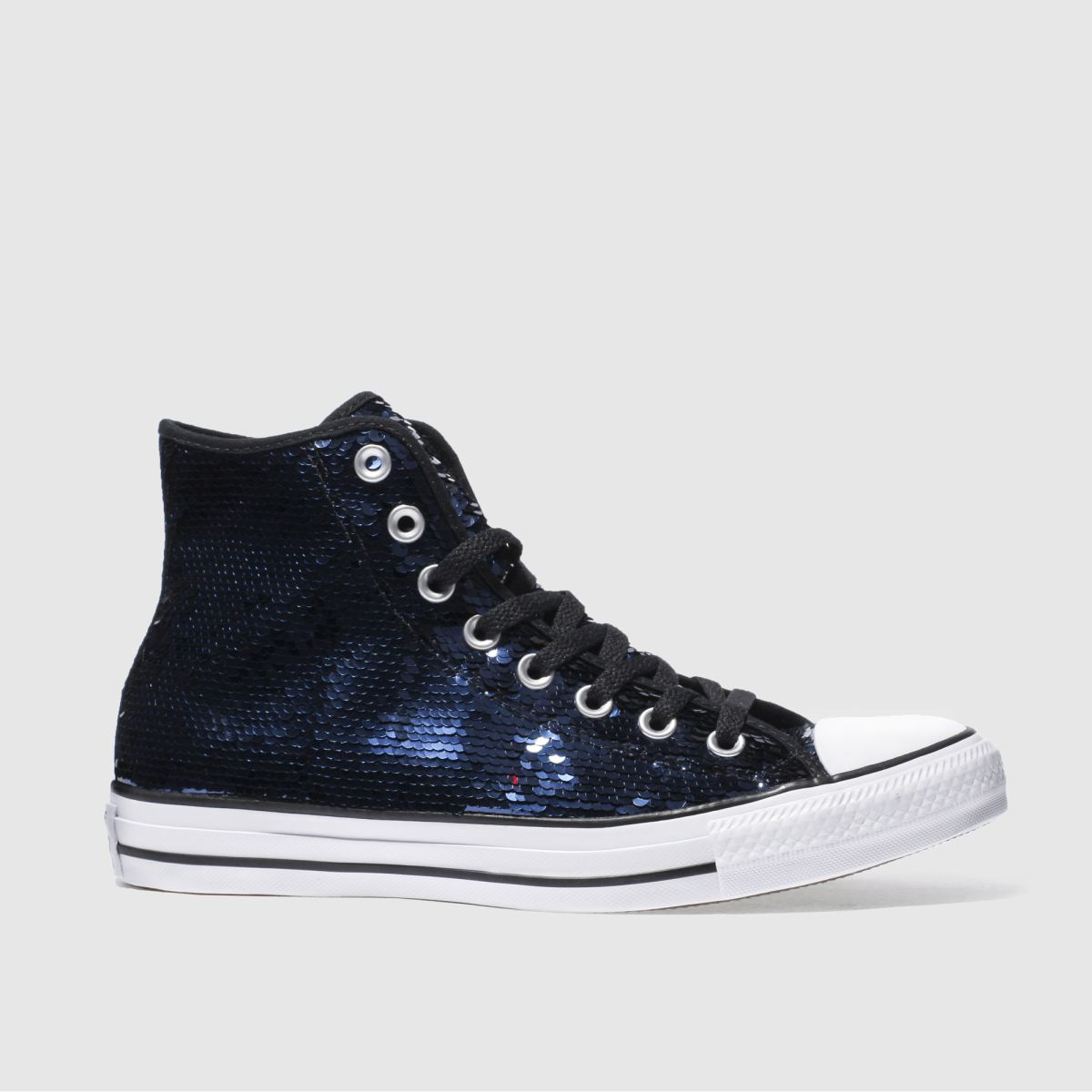 Converse Navy & White All Star Sequin Hi Trainers