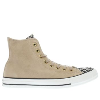 Converse Tan All Star Leopard Tongue Hi Womens Trainers
