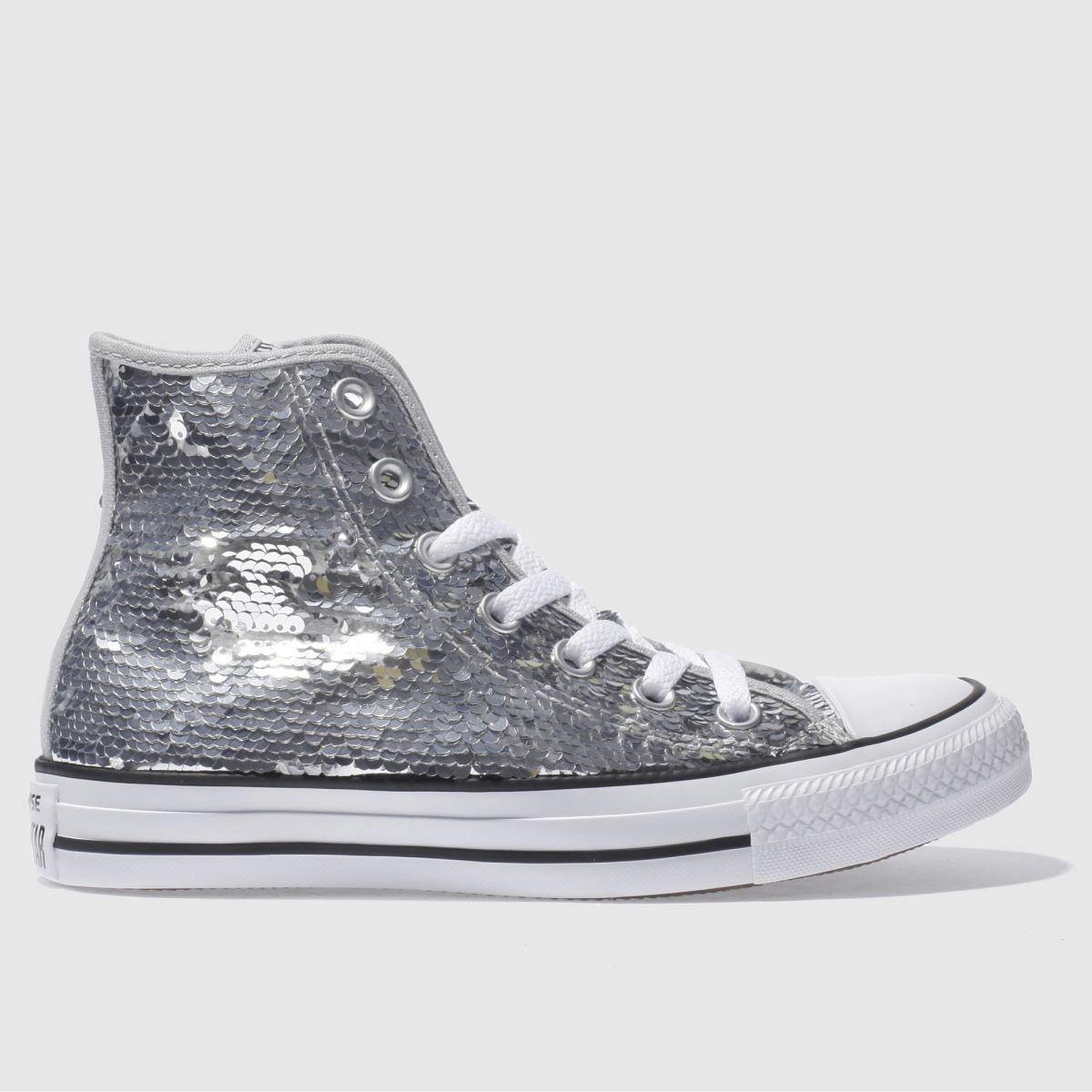 converse silver all star sequin hi trainers