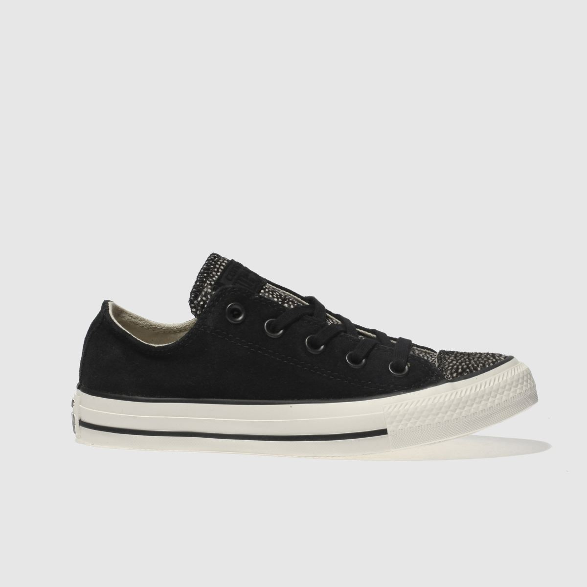 converse black & white all star suede fur ox trainers