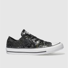 Converse Black & Silver All Star Snake Ox Womens Trainers