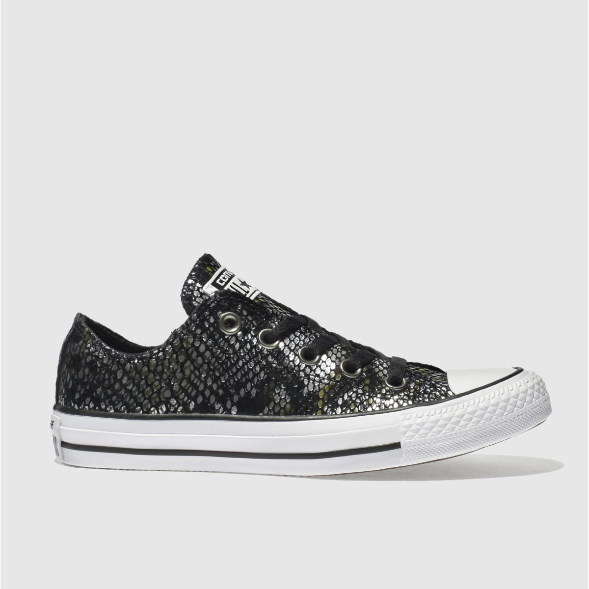 converse black & silver all star snake ox trainers
