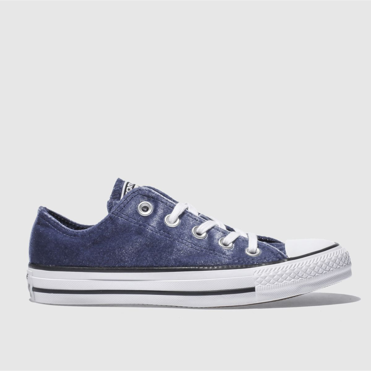 converse navy & white all star velvet ox trainers