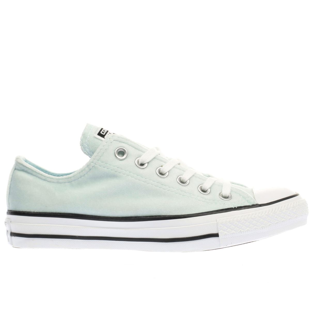converse light green all star velvet ox trainers