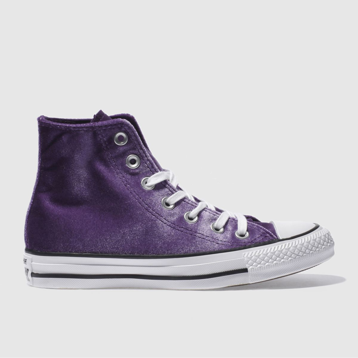 converse purple all star velvet hi trainers
