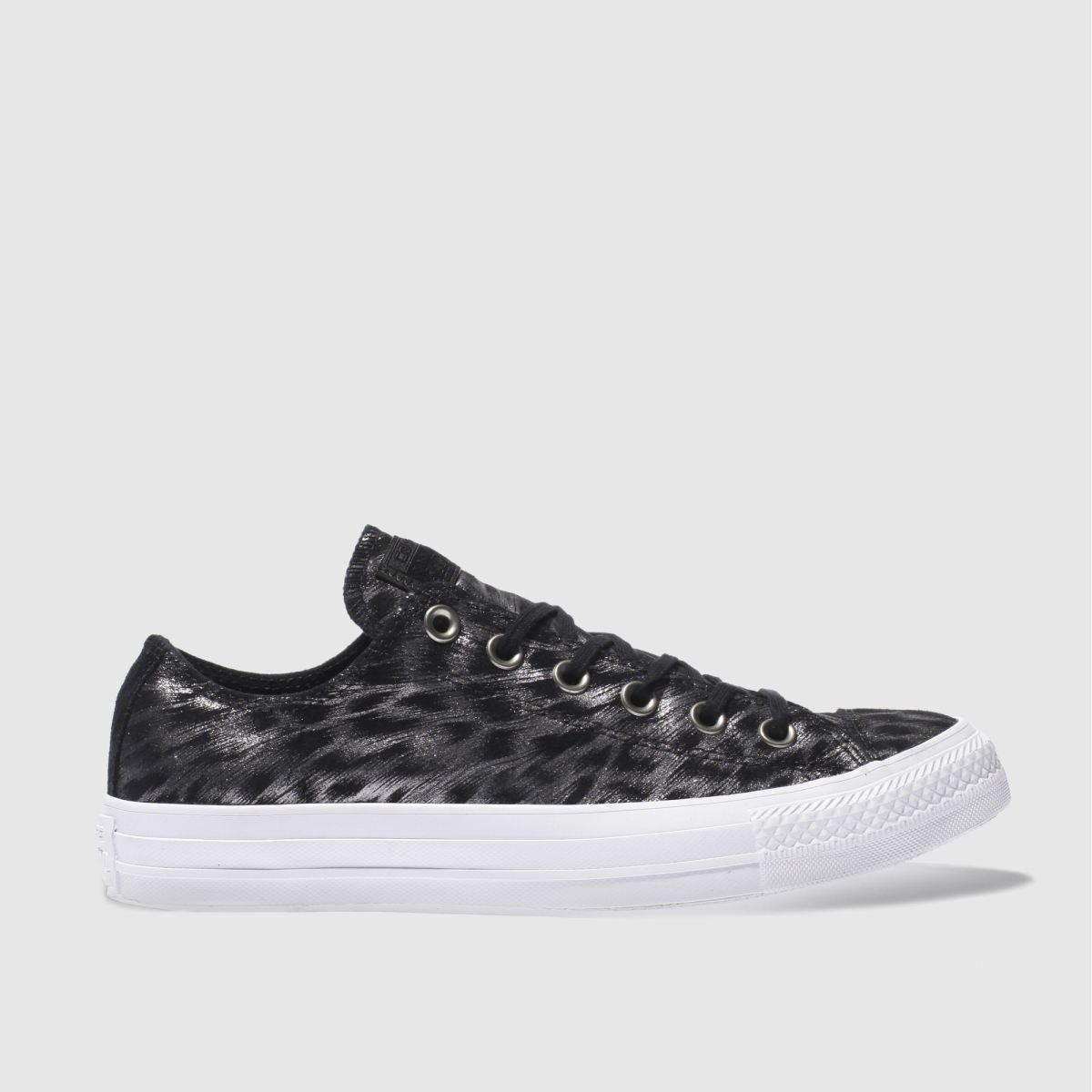 converse black & silver all star foil suede ox trainers