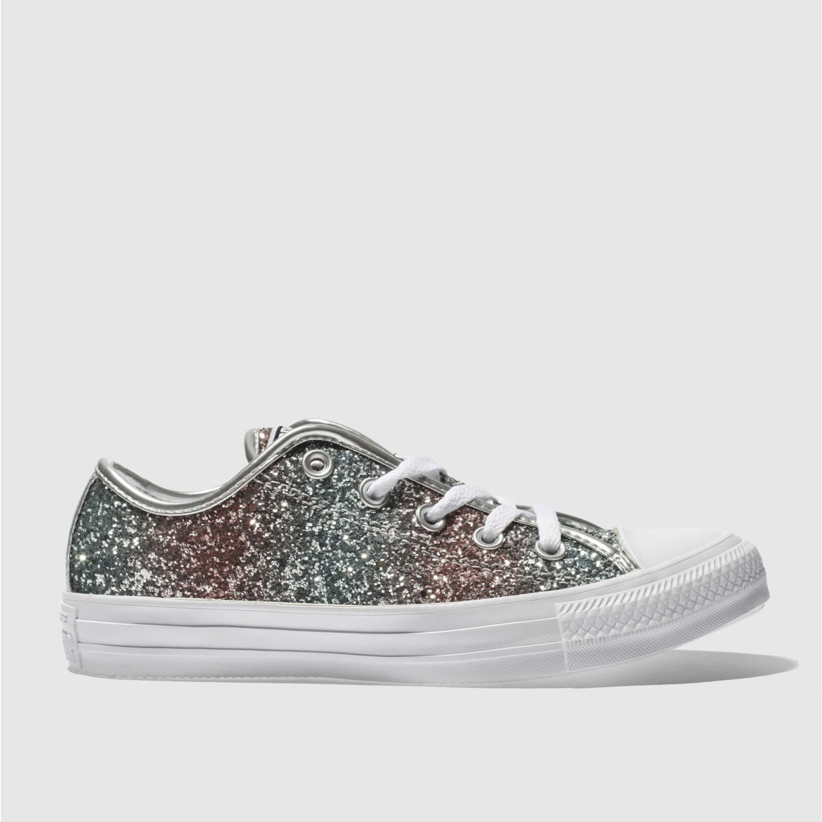 Converse Pink & Green All Star Stripe Glitter Ox Trainers