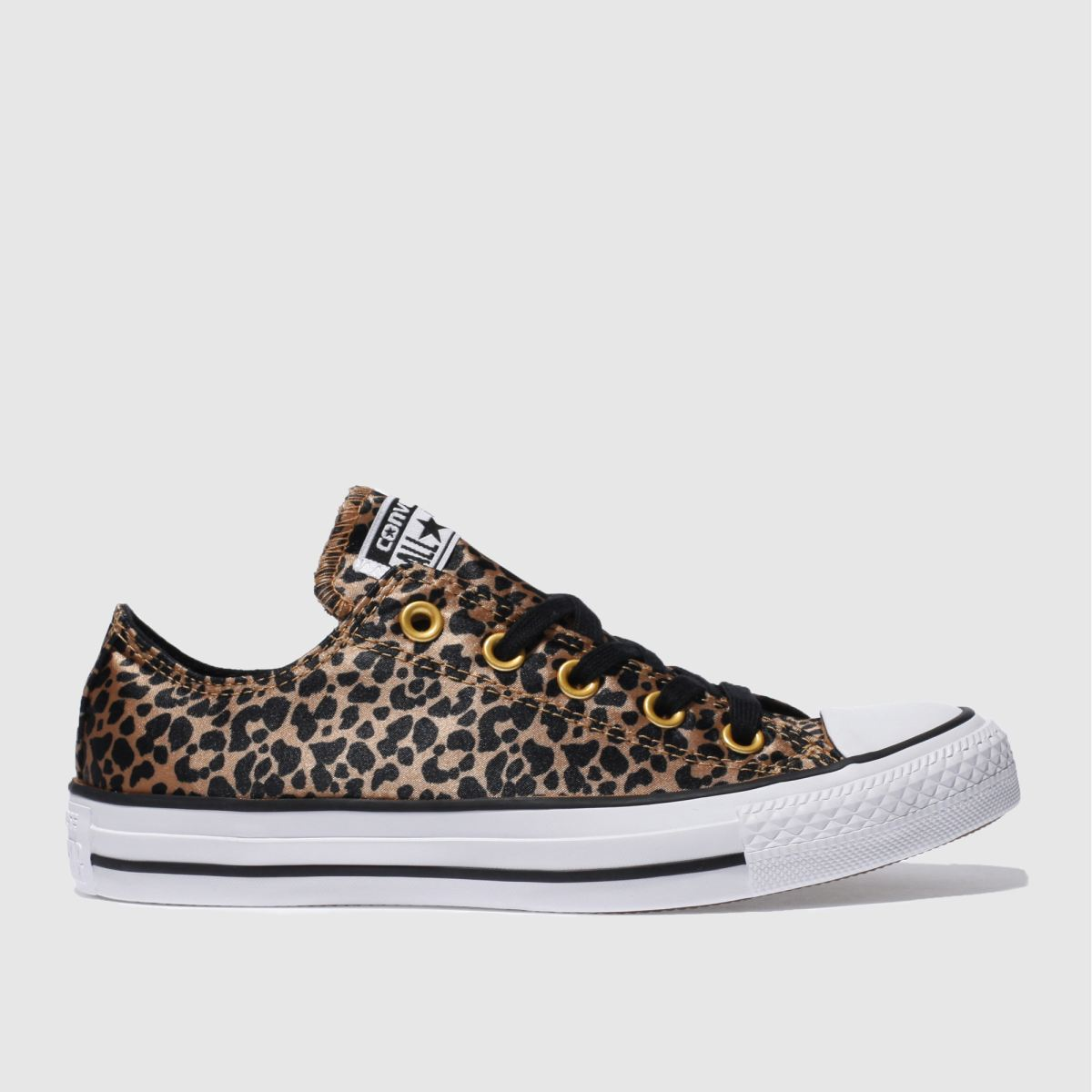 converse brown & black all star leopard satin ox trainers