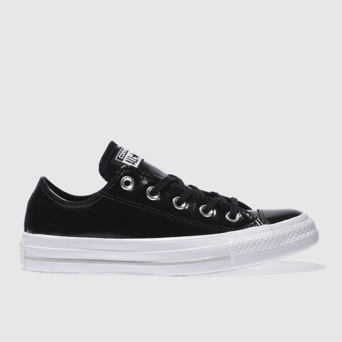 converse black & white all star patent ox trainers