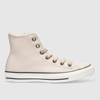 Converse Pink Leather Faux Fur Lined Hi Womens Trainers
