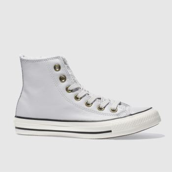 Converse Grey Leather Faux Fur Lined Hi Womens Trainers