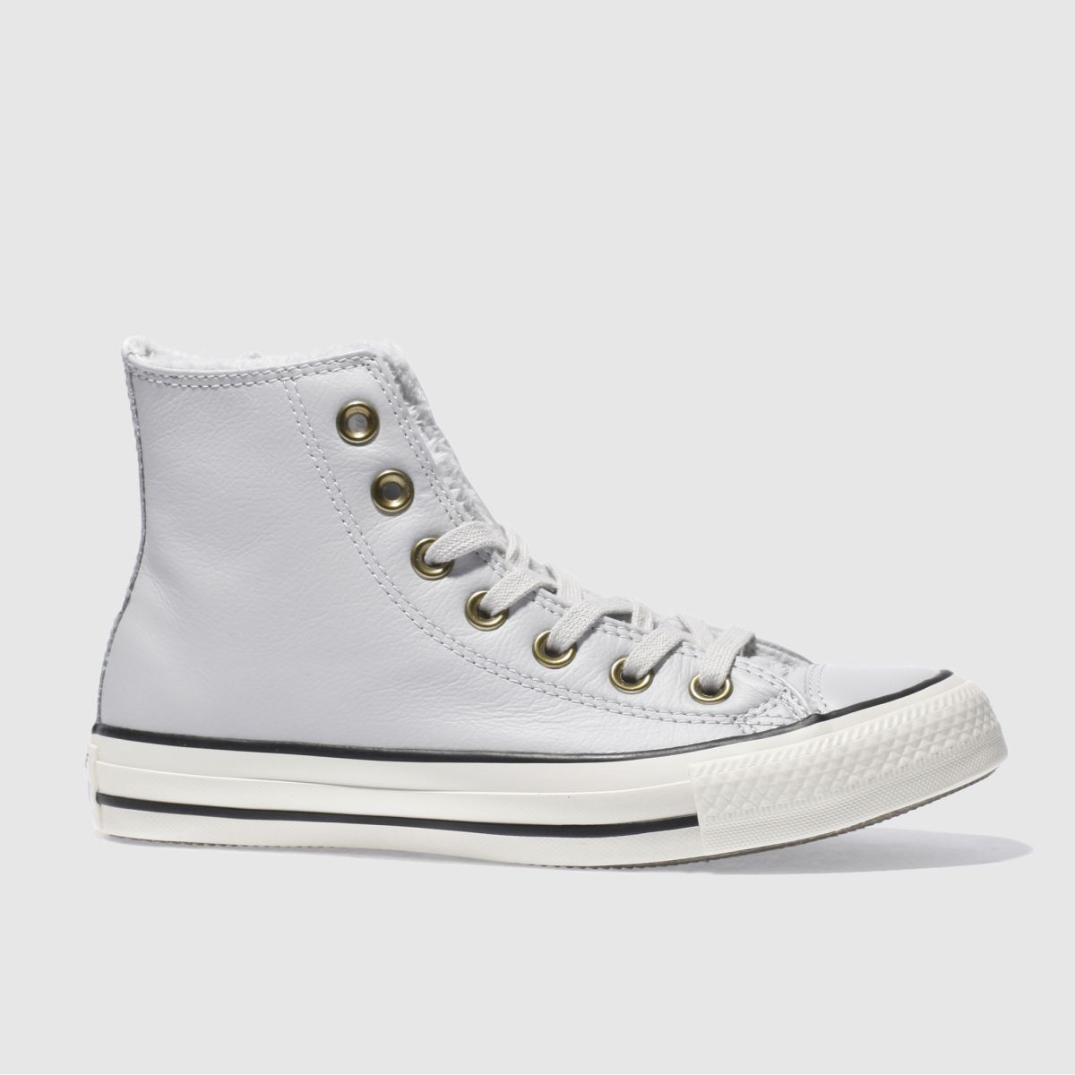 converse light grey leather faux fur lined hi trainers