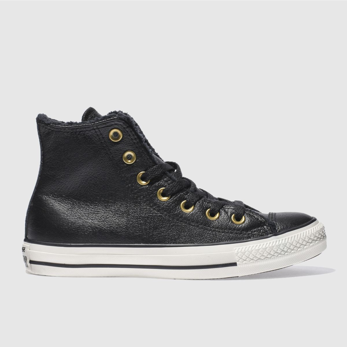 Converse Black Leather Faux Fur Lined Hi Trainers