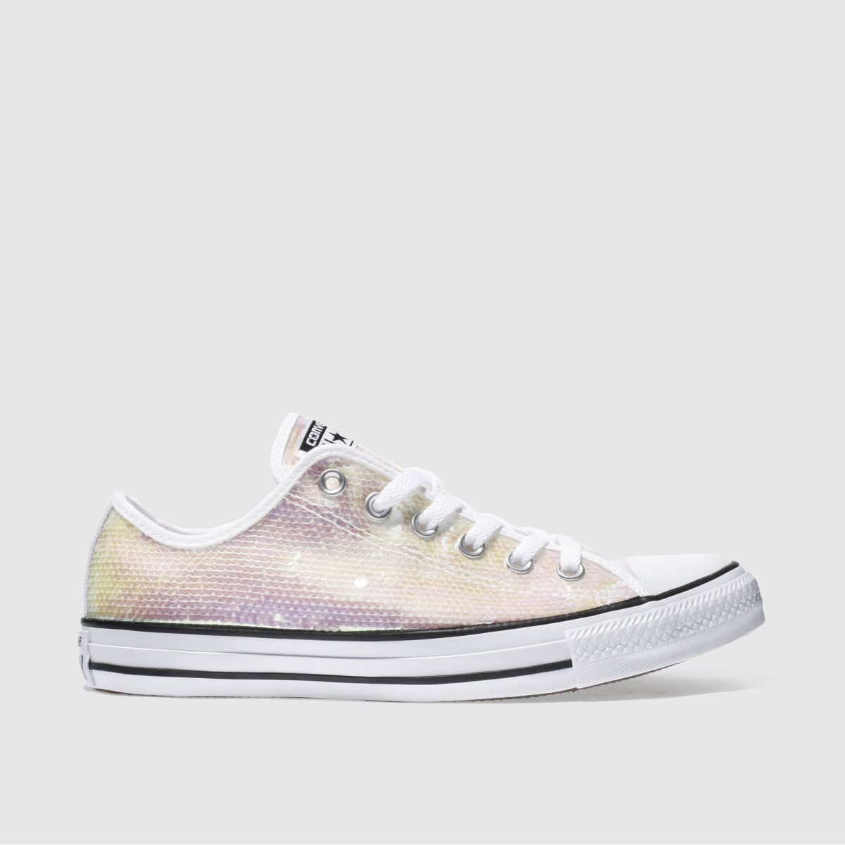 converse white & pink all star sequin ox trainers