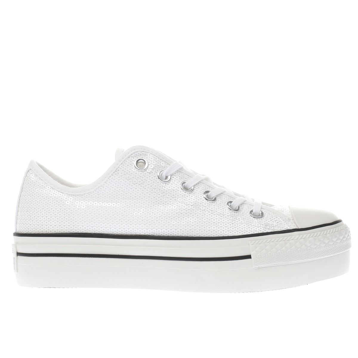 converse white & black all star platform ox trainers