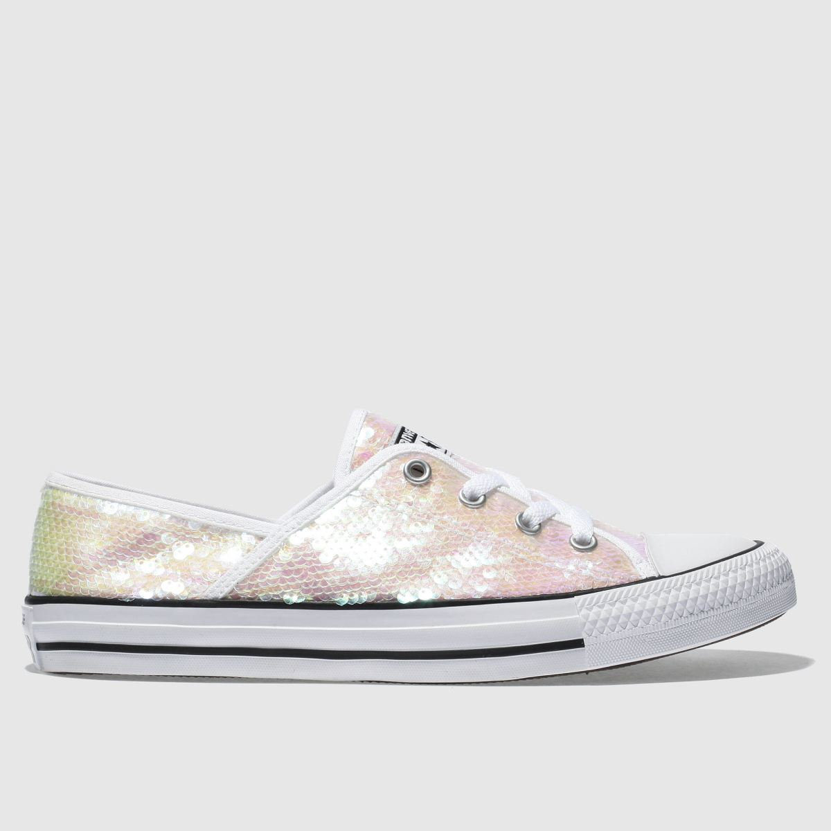 Converse White & Pink All Star Coral Ox Sequins Trainers