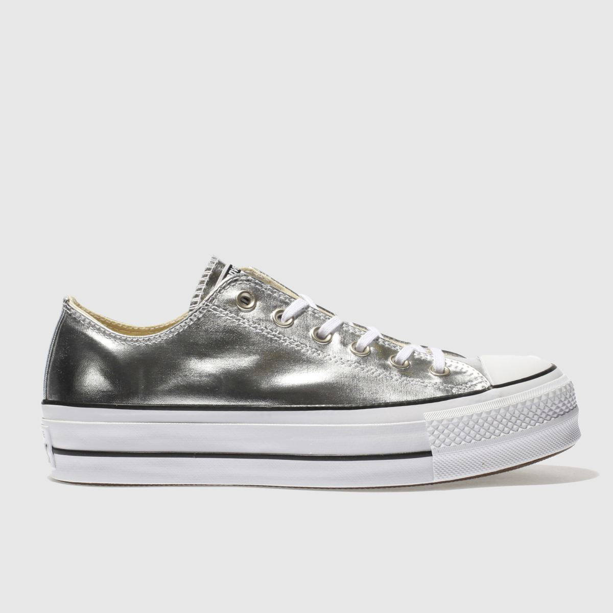 Converse Silver All Star Ox Lift Platform Trainers