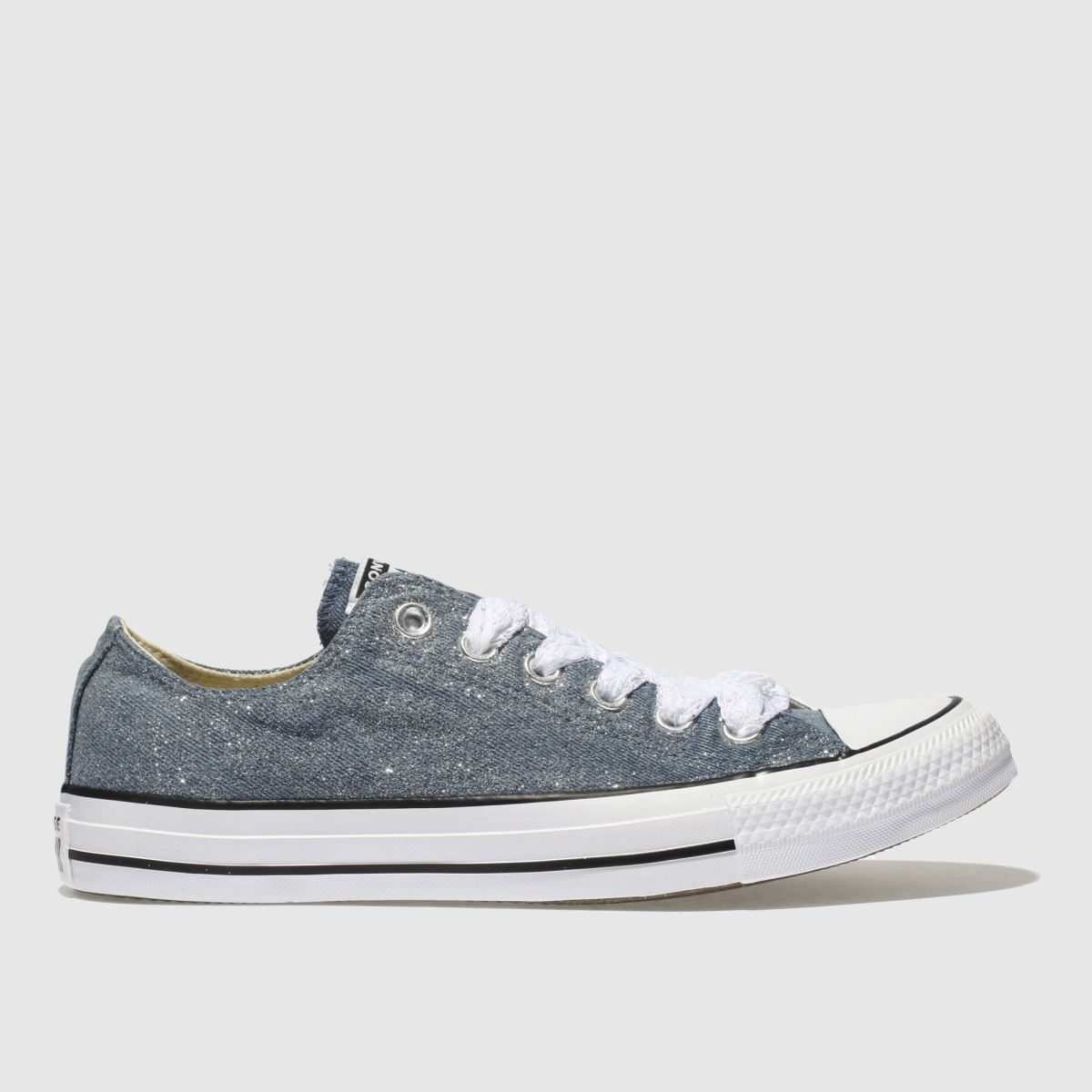 Converse Navy & White All Star Denim Glitter Ox Trainers