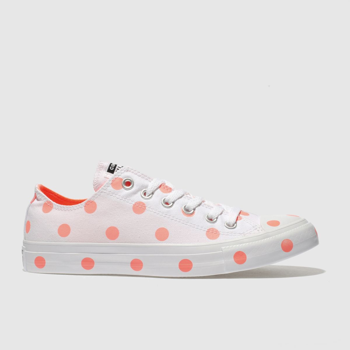 Converse White & Orange All Star Polka Dot Ox Trainers