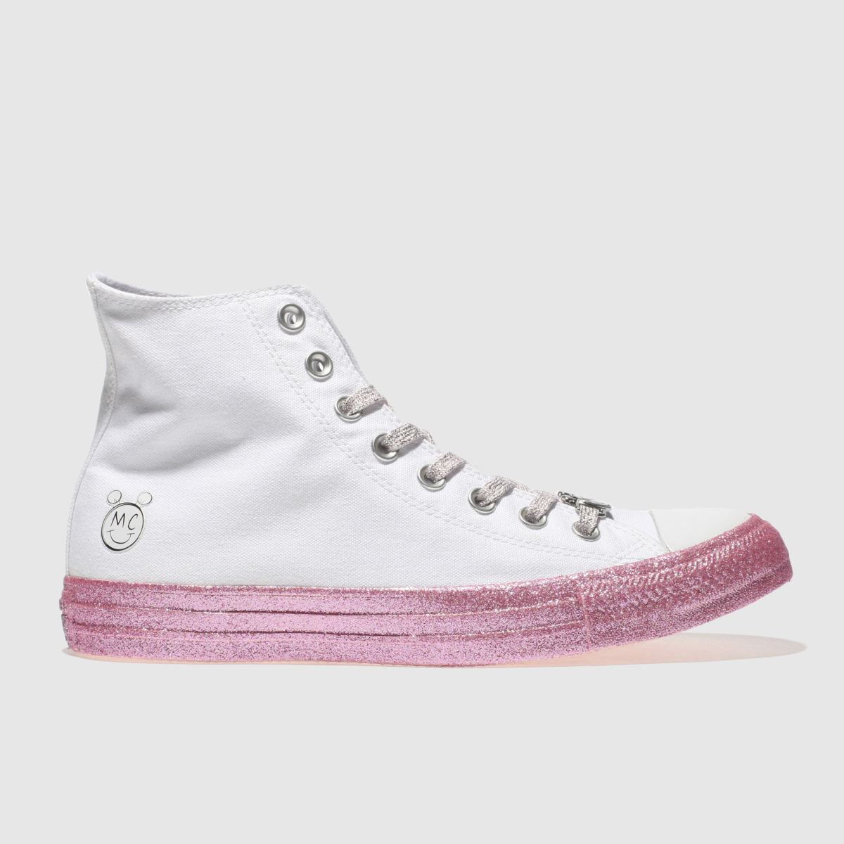 Converse White & Pink All Star Miley Cyrus Hi Trainers