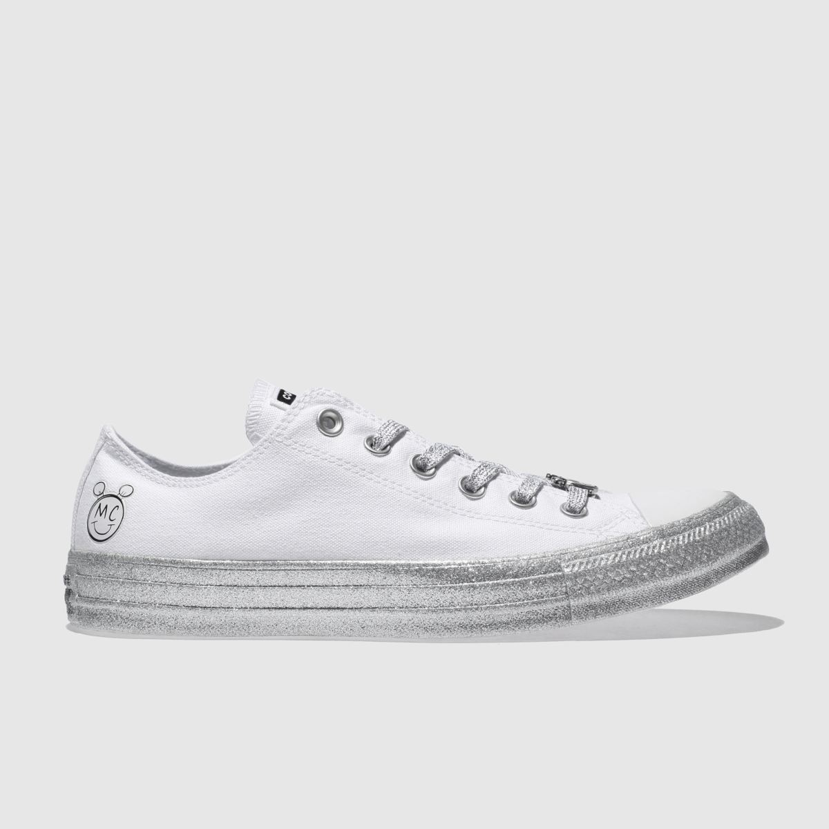 Converse White & Silver All Star Miley Cyrus Ox Trainers