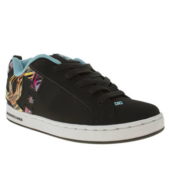 womens dc shoes black and blue court graffik trainers