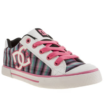 Womens Dc Shoes White & Pink Chelsea Plaid Trainers