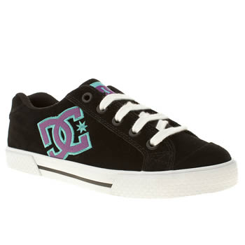 womens dc shoes black & purple chelsea le trainers