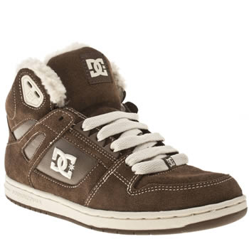womens dc shoes brown rebound hi shearling trainers