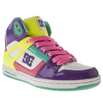 womens dc shoes white & purple rebound hi trainers