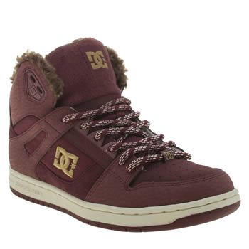 Womens Dc Shoes Burgundy Rebound Hi Winter Shearling Trainers