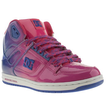 womens dc shoes pink rebound hi leather trainers