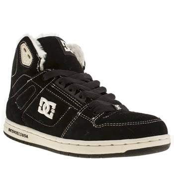 womens dc shoes black & white rebound hi le shearling trainers