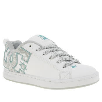 Womens Dc Shoes White & Green Court Graffik Trainers