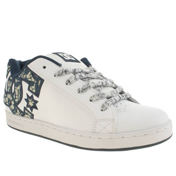 Womens Dc Shoes White & Blue Court Graffik Se Trainers