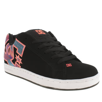 Womens Dc Shoes Black & Orange Court Graffik Se Trainers