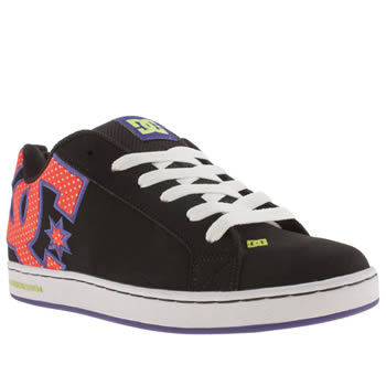 womens dc shoes black & orange court graffik se iv trainers