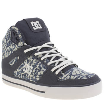 Womens Dc Shoes White & Blue Spartan Hi Wc Tx Se Trainers