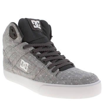 womens dc shoes grey & black spartan hi trainers