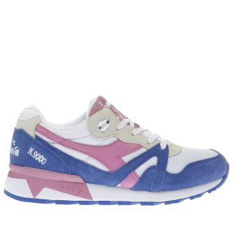 DIADORA WHITE & BLUE N9000 III TRAINERS