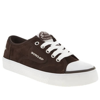 womens dunlop brown & white green flash lace suede trainers