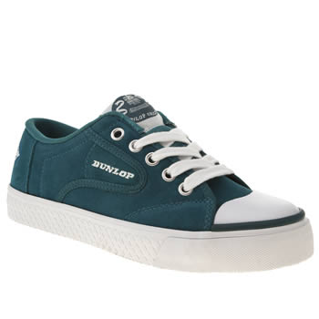 womens dunlop turquoise green flash lace suede trainers